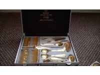 Beautiful cutlery set 70 piece, gold plated in presentation case. made in west germany,solingen