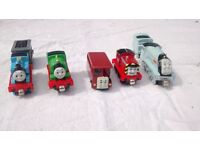 Five Take Along Thomas die-case model trains (including Thomas and Percy)
