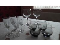 3 sets of drinks glasses (sherry and tumblers, large wine glasses)