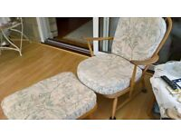 2 x Ercol Windsor chairs.1 x Ercol Footstool.(needs re-webbing)
