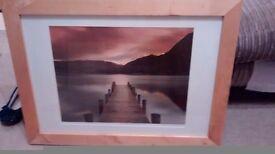 Idyllic scene in solid wood frame