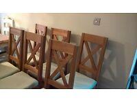 6 Oak Cross Back Dining Chairs