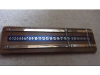 Wood and brass snooker scoreboard