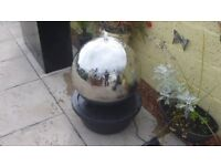 NEW- Polished 50cm Stainless Steel Sphere Water Feature, LED Lights Code: WF0922P £75 Dumfries