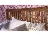 Sleigh solid pine double bed