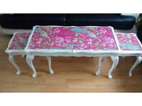 Long john Vintage Coffee Table with pull out side tables White and Pink Peacock