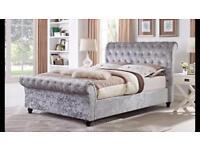 Luxury Crush Velvet Sleigh Bed & Mattress