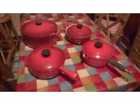 Le Creuset (Red) cast iron pans (Collection only)