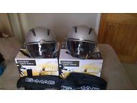 Open faced crash helmets