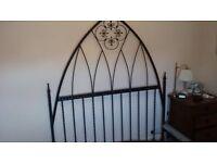 King sized bed, all solid metal bolt together frame, genuine oak planks victorian gothic designed