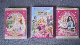 Barbie DVDs x 3