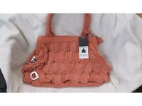 Domo San Sipriano womens hand bag, Real Leather, orange , RRP £65