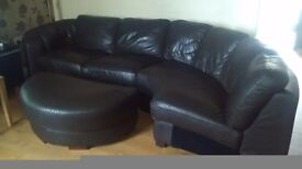 Can deliver brown leather curved corner sofa in very good condition dition