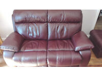 2 Seater leather sofa in Burgandy