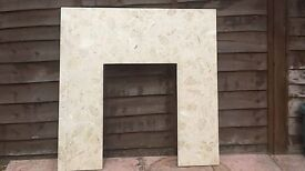 Fireplace with Dimplex elec fire, only 1 year old. Back panel & hearth solid marble.