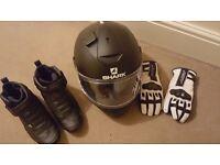 Hardly worn Ladies Motorbike Jacket, Helmet, Boots and Gloves