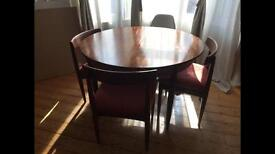 G plan circular extendable dining table and 3 chairs vintage retro