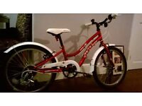 girls red and white 20 inch bike with 6 gears