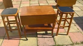 Drop flap wheeled table and stools