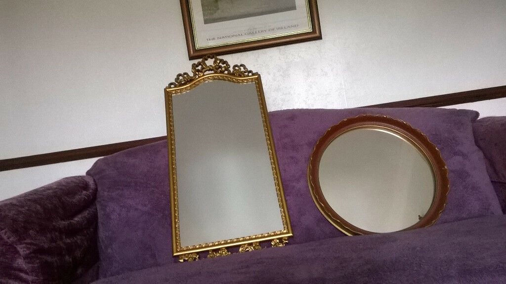 2 Mirrors.... 1 Gilt Hall Mirror and 1 Leather Inlay Round Mirror.