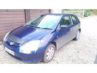 Honda Civic 1.4 3 Door Hatchback 2002 12 months MOT.