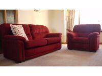 Red 3 piece fabric sofas and chair