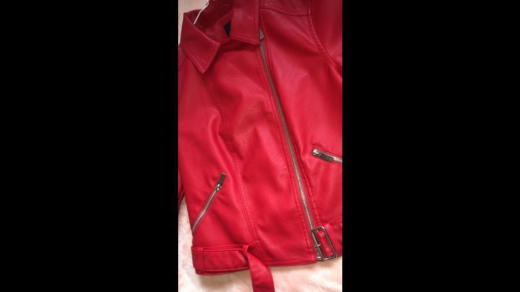 red leather-look biker jacket
