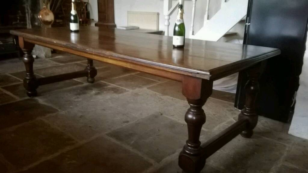 19th century large dining table and 6 chairs
