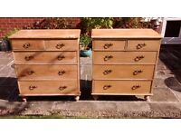 Pair of Antique Chest of Drawers in Solid Pine