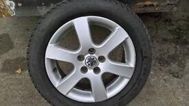 "Vw polo 5 stud ... 15"" alloy wheels & winter tyres 195/55/15 x 4 (5x100)"