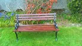 1 garden bench, made from metal and treated timber