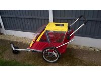 LOVELY DOUBLE SEATING BIKE TRAILER ALSO CAN BE USED AS A PUSHCHAIR