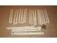 12 pair Kitchen Bedroom Drawer runners 400mm length white with screws