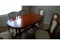 Dining Room Table + Six Chairs together with matching Sideboard & Corner Display Unit