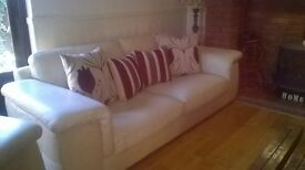 Leather Sofas and Chair Italian Design (Cream) Cream Leather Sofas x 2, 1 x Arm Chair