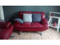 3&2 red leather sofa