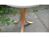 IKEA white round table ,beech legs exellent condition