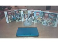 NINTENDO 3DS XL IN BLUE, INC BOX, CHARGER AND SIX GAMES.