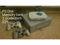 Ps one in box, memory card and 2 controllers
