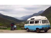 VW T25 Hightop Campervan, Baby Blue, 1990, reconditioned engine, bodywork June 2016, long MOT £6995