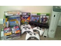 Xbox 360 with Kinect, 4 wireless controllers and games