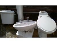 FREE. pedestal basin with taps and wc and cistern