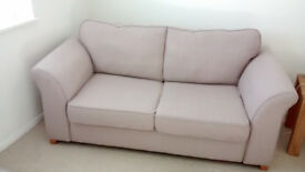 REDUCED DFS sofa bed, AMAZING condition, beige, footstool