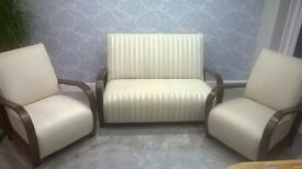 Lovely Laura Ashley dark wood 2 chairs and sofa in neutral cream material. reduced for quick sale!!
