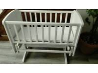 white swing cot