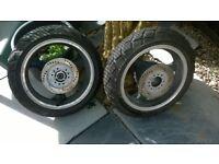 lexmoto wheels 125cc, almost new brake discs still on wheels and spedo drive