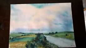 Vintage 70's painting, watercolour landscape, on paper, signed, unframed