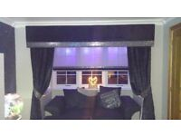 Luxury Crushed Black Velvet with Diamante and Galaxy Black Glitter Trim (6ft 6inch width)