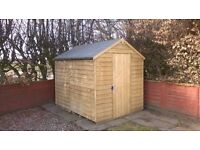 8x6 Apex Overlap Pressure Treated Shed No Windows - Only 6weeks old - Used Excellent condition