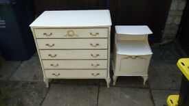 set of drawers an a bedside